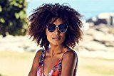 Cheapass Occhiali da Sole di cat-eye Grandi neri d'oro specchiati XXL UV-400 Donne Ragazze