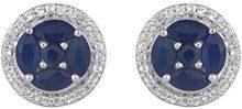 Jewelili Donna  925  argento smeraldo   blu Zaffiro Topazio FASHIONEARRING