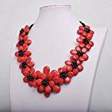 Jane Stone collana Handmade rosso e nero Statement Collana Dichiarazione fiore di imitazione Turchese resina di nylon e lega metallica