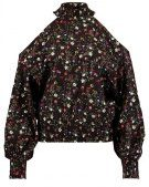 DOLORES FLORAL SHIRRED SHELL - Camicetta - black