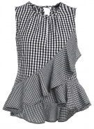 New Look GINGHAM RUFFLE Top black