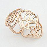Le Premium® L'anello di barretta completa Vuoti anello fiore della Rosa Joint pieghevole lungo l'anello in oro rosa placcato-- misura dell'anello'12''15''17'