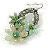 Colore: verde oliva, motivo floreale, con perle di cristallo-Orecchini a cerchio, ovali, argento, 55 mm, L