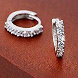 orecchini donna, DDLBiz® elegante 925 d'argento Strass cerchio Diamante Orecchini per donna