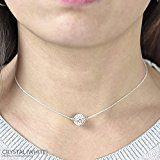 Collana a girocollo con palletta rosa 10 mm ornata con autentici cristalli Swarovski® - Gioiello d'argento 925 rodio e cristallo roseo - MADE IN FRANCE - Regalo Donna