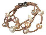 Dolce acqua perl Cinturino in pelle donna-braccialetto rodiato perla multicolore perla-acqua dolce 20 cm - 0612950722
