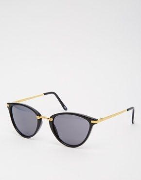 ASOS - Occhiali da sole ovali a occhi di gatto con ponte di metallo