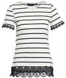 Dorothy Perkins STRIPE LACE Tshirt con stampa navy blue