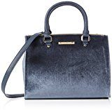 Dorothy Perkins Navy Velvet Pipe Tote Bag - Borse Donna, Blue (Navy Blue), 31x24x15 cm (W x H x L)