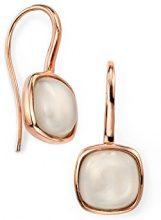 Elements Silver - Orecchini in argento Sterling con pietra di luna taglio Cabochon, placcato oro rosa