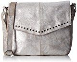 PIECES Pcvanity Leather Cross Over Bag - Borse a spalla Donna, Grau (Silver), 6x19x23 cm (L x H D)