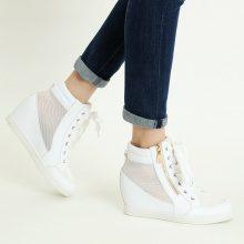 Sneakers alte con zeppa e dettaglio a zip