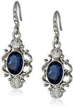 Downton Abbey - Orecchini pendenti con cristallo ovale blu, colore argento