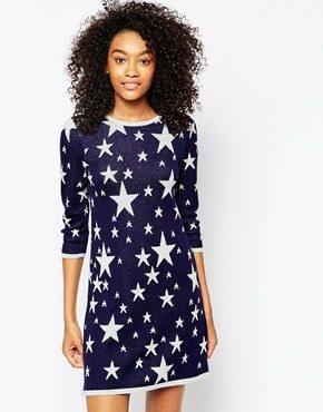 ASOS - Vestito lavorato a maglia con stelle a intarsio