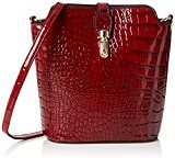 SwankySwansCharlotte Croc Patent Leather Shoulder Bag Red - Borsa a tracolla donna , rosso (Red (Red)), Taglia unica