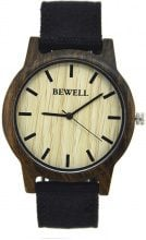 Orologio in legno con cinturino in tessuto
