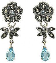 Esse Marcasite-Anello in argento Sterling, con topazio blu e Marcasite, in Art Nouveau floreale-Orecchini a goccia a vite