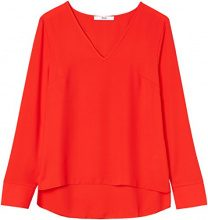 FIND Blusa con Scollo a V Donna, Rosso (Fiery Red 18-1664), X-Small