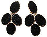 Donna-orecchini ottone Justwin parte indora vetro 8,6 cm, ottone, colore: black, cod. 111077-blk