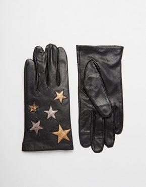 ASOS - Guanti in pelle con stelle per touchscreen