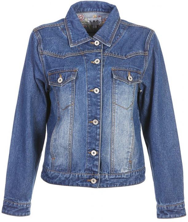 fee3bf9fef10c Giacca jeans con ricamo floreale sul retro