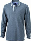 James & Nicholson - Poloshirt Men's Long-Sleeve, Polo Uomo, Grigio (grey-melange/off-white), Large (Taglia Produttore: Large)