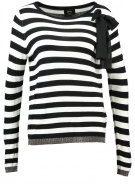 ONLY ONLMILA  Maglione black/w white stripes/black bow