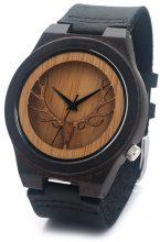 Orologio in legno di sandalo con motivo a cervo