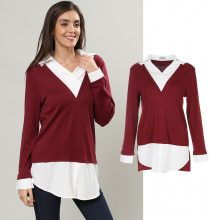 Pullover 2 in 1 con colletto all'italiana