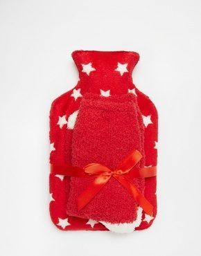 ASOS - Set con borsa dell'acqua calda con stelle natalizie e calzini comodi