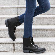 Stivaletti con gambale rivoltabile & rivetti