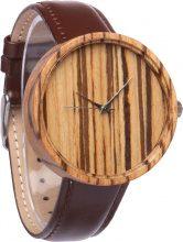 Orologio in legno zebrano con cinturino in pelle