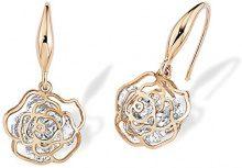 Noelani orecchini da donna con Swarovski Elements, a forma di Rose, Ottone rodiato - cristalli bianchi 496650