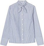 FIND Camicia con Fiocco Donna, Multicolore (Blue/white Stripes), X-Small