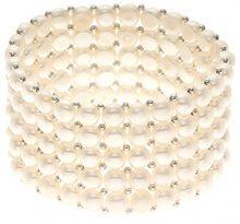 Pearls & Colors PC-BRN25 - Collana multifilo, in acciaio Inox, perle d'acqua dolce, 14 cm