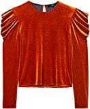 FIND Blusa Manica Lunga in Velluto Donna , Arancione (Orange), 44 (Taglia Produttore: Medium)