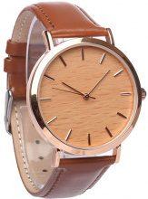 Orologio con cinturino in pelle e quadrante in legno