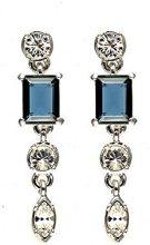 Cristalina-Collana placcata al rodio, stile Art Deco, colore: blu Montana Kensington Style-Orecchini a pendente, con cristalli Swarovski