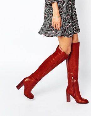 Sam Edelman - Rylan - Stivali al ginocchio in pelle rosso ruggine