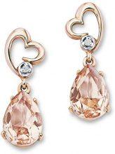 Amor - orecchini per donna, motivo a cuore, argento 925 placcato oro con zirconi bianchi - 496551