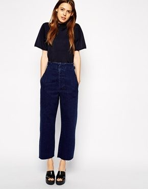 ASOS - Jeans indaco a vita alta con fondo ampio