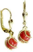 InCollections - Orecchini pendenti per bambini con corallo, oro giallo 8k (333), cod. 0040160102401