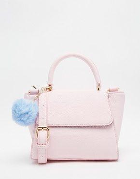 Skinnydip - Borsa a tracolla piccola rosa con pompon