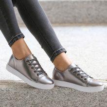 Sneakers metallizzate con suola a contrasto