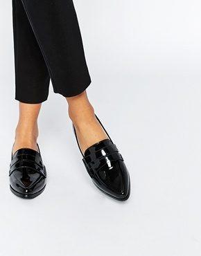 Daisy Street - Scarpe piatte a punta stile mocassino verniciate