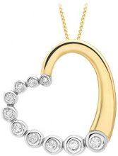 Carissima Gold Collana con Pendente da Donna in Oro Giallo/Bianco 9K (375) con Diamante 0.03ct, 46 cm