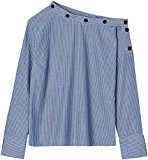 FIND Camicia con Spalla Nuda Donna, Multicolore (Blue/white Stripes), X-Large