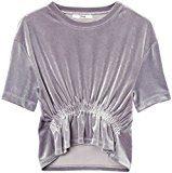 FIND T-shirt in Velluto Metallizzato Donna , Argento (Silber), 52 (Taglia Produttore: XXX-Large)