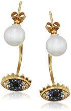 Ingenious Jewellery, orecchini in argento Sterling con perla ed ear jacket a forma di occhio