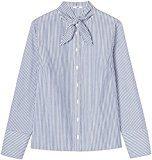 FIND Camicia con Fiocco Donna , Multicolore (Blue/white Stripes), 50 (Taglia Produttore: XX-Large)